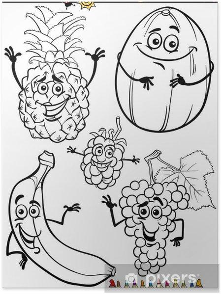 Karikatür Meyve Boyama Kitabı Için Belirlenen Poster Pixers