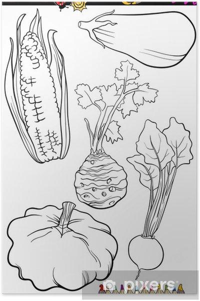Karikatür Sebze Boyama Kitabı Için Belirlenen Poster Pixers