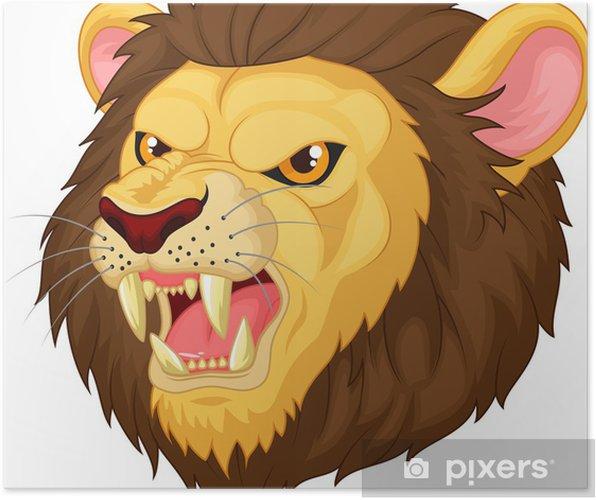 Kızgın Aslan Kafası Maskotu Poster Pixers Haydi Dünyanızı