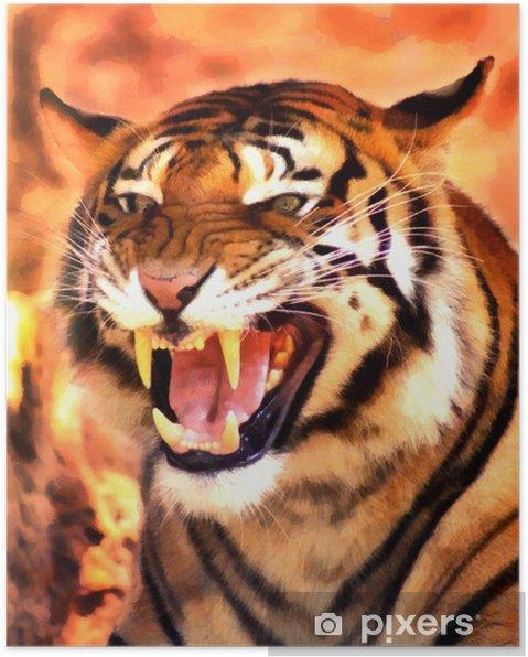 Kızgın Yüz Tiger Portre Boyama Poster Pixers Haydi Dünyanızı