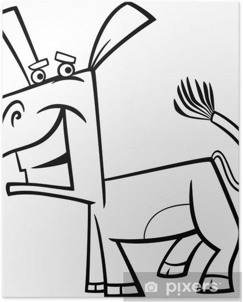 Komik Eşek Karikatür Boyama Poster Pixers Haydi Dünyanızı