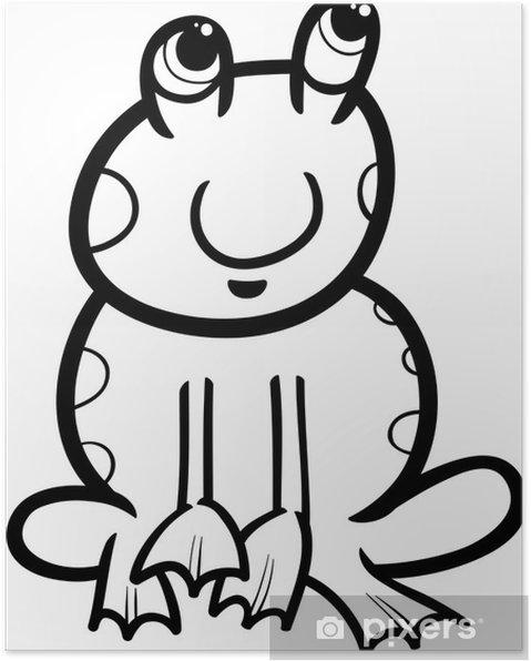 Kurbağa Karikatür Boyama Poster Pixers Haydi Dünyanızı Değiştirelim