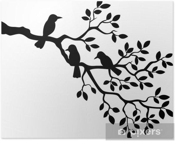 Kuş Siluet Ağaç Dalı Illüstrasyon Poster Pixers Haydi Dünyanızı