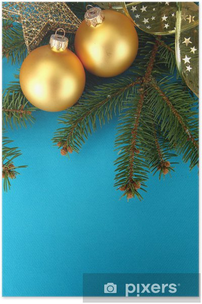 Mavi Arka Plan üzerinde Güzel Yılbaşı Kompozisyon Poster Pixers