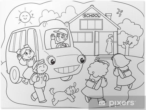 Okul Otobüsü Ile Okula Gidiyor Karikatür öğrenciler Poster Pixers