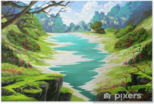 Orman Arazisindeki Küçük Nehir Video Oyunun Dijital Cg Sanat