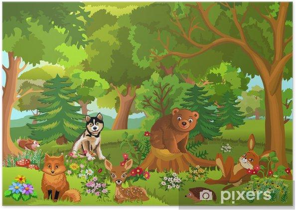 Ormanda Yaşayan Sevimli Hayvanlar Poster Pixers Haydi Dünyanızı