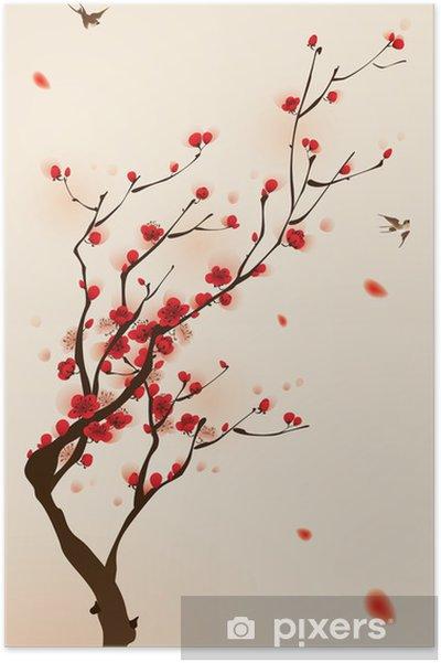 Oryantal Tarzı Boyama Ilkbaharda Erik çiçeği Poster Pixers