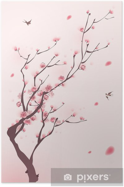 Oryantal Tarzı Boyama Ilkbaharda Kiraz çiçeği Poster Pixers