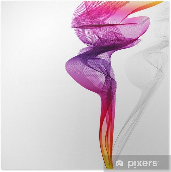 Poster Özet renkli vektör duman beyaz izole. -