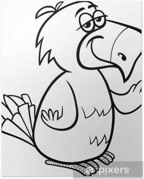 Papağan Kuş Karikatür Boyama Poster Pixers Haydi Dünyanızı