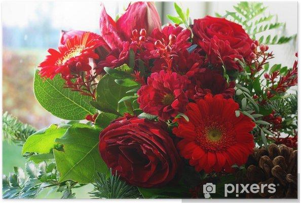 Parlak Kırmızı çiçekler Güzel Buket Poster Pixers Haydi