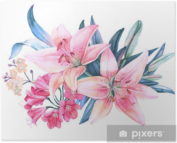 Pembe Zambak çiçek Sulu Boya Buketi Poster Pixers Haydi