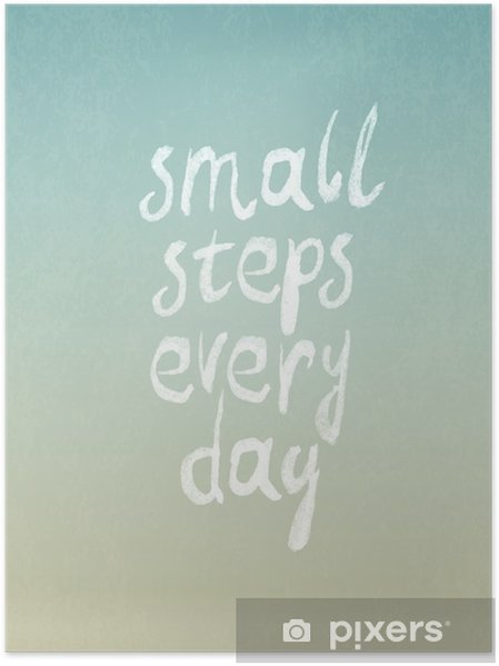 """Poster """"Küçük adımlarla her gün"""" ibaresi ile grunge bağbozumu vektör tasarımı - Hobi ve eğlence"""