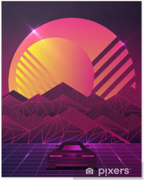 Retro Gelecek 80s Bilimkurgu Arka Plan Stili Fütüristik Araba