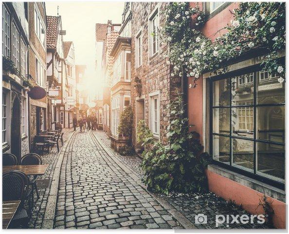 Poster Retro Vintage etkisi ile gün batımında Avrupa'da tarihi sokak -