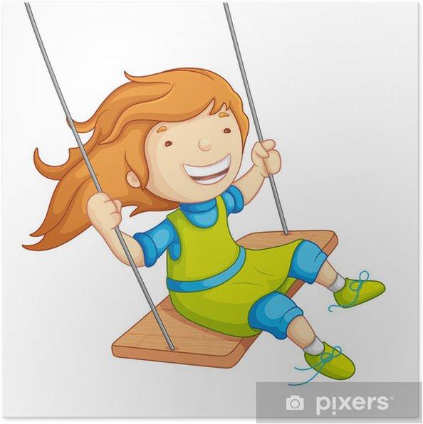 Salıncakta Sallanan Kız Bebek Vektör çizim Poster Pixers Haydi