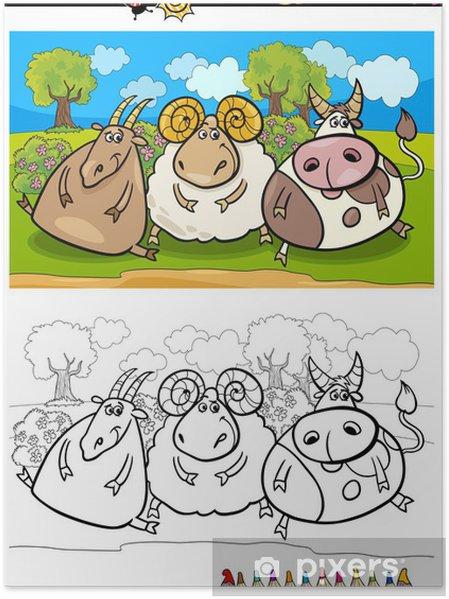 Sayfa Boyama Karikatür çiftlik Hayvanları Poster Pixers Haydi