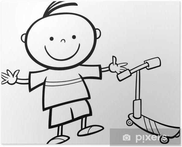 Scooter Karikatür Boyama Ile çocuk Poster Pixers Haydi