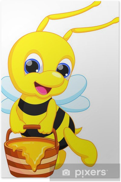 Sevimli Arı Karikatür Poster Pixers Haydi Dünyanızı Değiştirelim
