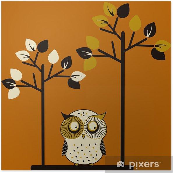 Poster Sevimli baykuş ve iki ağaç -