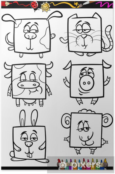 Sevimli Hayvanlar Karikatur Boyama Kitabi Poster Pixers Haydi