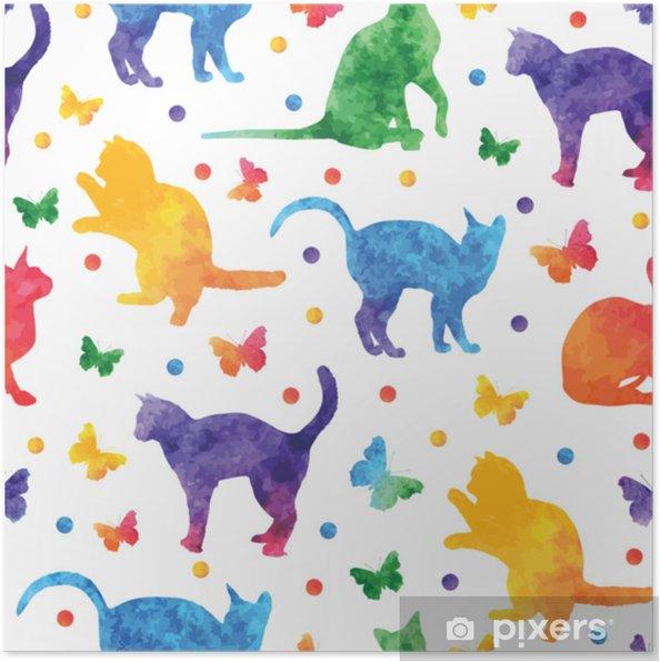 Poster Sevimli Kediler Ve Beyaz Arka Plan üzerinde Izole Kelebekler Ile Renkli Sulu Boya Dikişsiz Desen Vektör Eps10