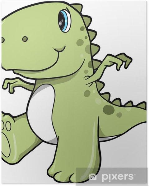 Sevimli Yeşil Dinosaur T Rex Vector Illustration Sanat Poster