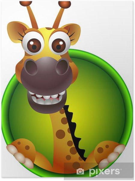 Sevimli Zürafa Kafası Karikatür Poster Pixers Haydi Dünyanızı