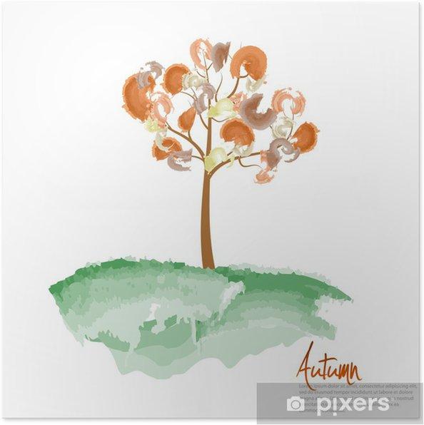 Sonbahar Ağaç Boyama Vector Illustration Poster Pixers Haydi