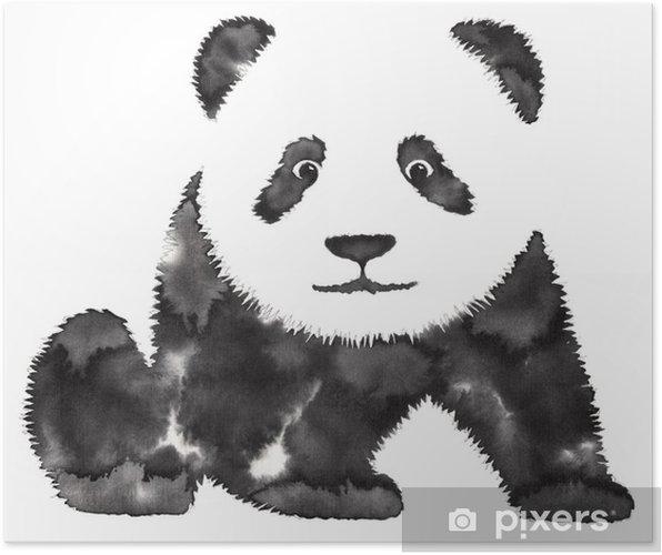 Su Ve Mürekkeple Siyah Beyaz Tek Renkli Boyama Panda Illüstrasyonu