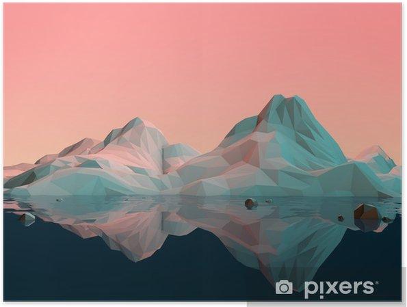 Poster Su ve Reflection ile düşük-Poly 3D Dağ Manzarası - Spor