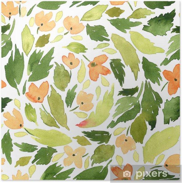 Sulu Boya Dikişsiz Desen Küçük Portakal çiçekleri Ve Yeşil Yaprak