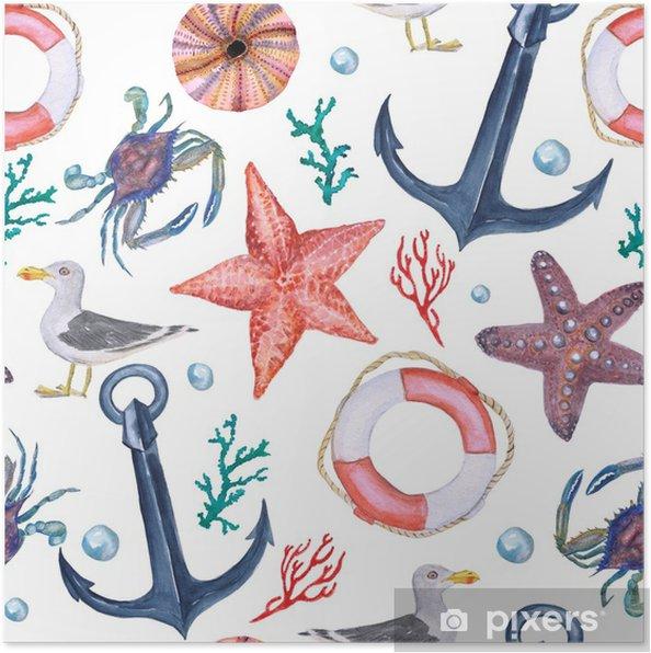 Suluboya Boyama Dikişsiz Desenli çapa Seafish Lifebuoy Jackdaw
