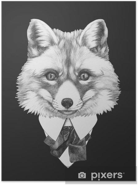 Poster Takım Fox portresi. El illüstrasyon çizilmiş. -