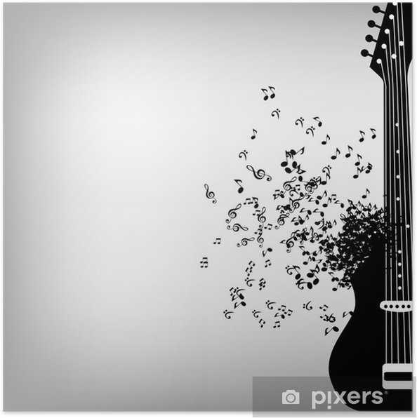 Tasarım Için Soyut Müzik Arka Plan Vektör çizim Poster Pixers