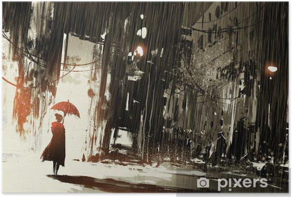 Terk Edilmiş şehir şemsiye Ile Yalnız Kadın Dijital Boyama Poster