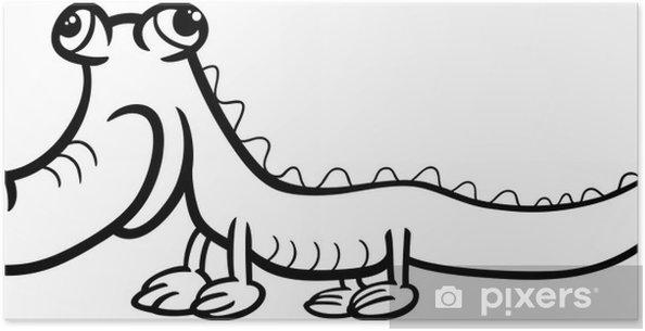 Timsah Karikatür Boyama Poster Pixers Haydi Dünyanızı Değiştirelim