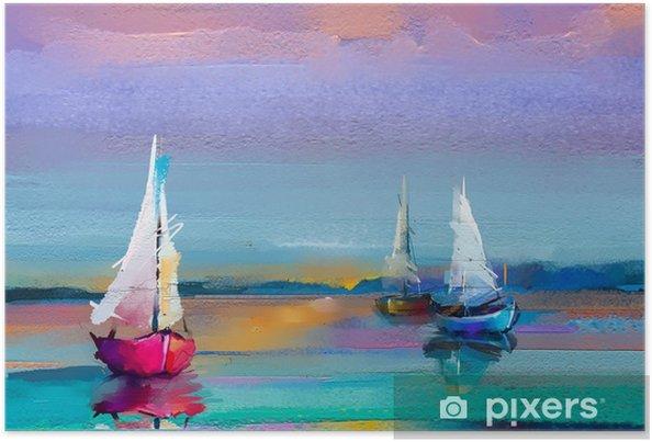 Poster Tuval Dokusu üzerinde Renkli Yağlı Boya Güneş ışığı Arka Plan Ile Deniz Manzarası Resimleri Izlenimcilik Görüntüsü Tekne Ile Modern Sanat