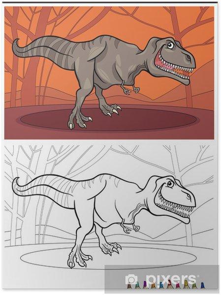 Tyrannosaurus Boyama Için Dinozor Rex Poster Pixers Haydi
