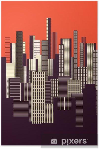 Poster Üç renk grafik soyut kentsel peyzaj turuncu afiş ve kahverengi - Manzaralar