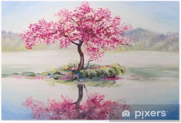 Yağlı Boya Peyzaj Oryantal Kiraz Ağacı Göl Sakura Poster Pixers