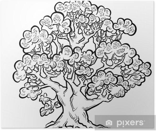 Yaz Yaşlı Ağaç Serbest çizim Poster Pixers Haydi Dünyanızı