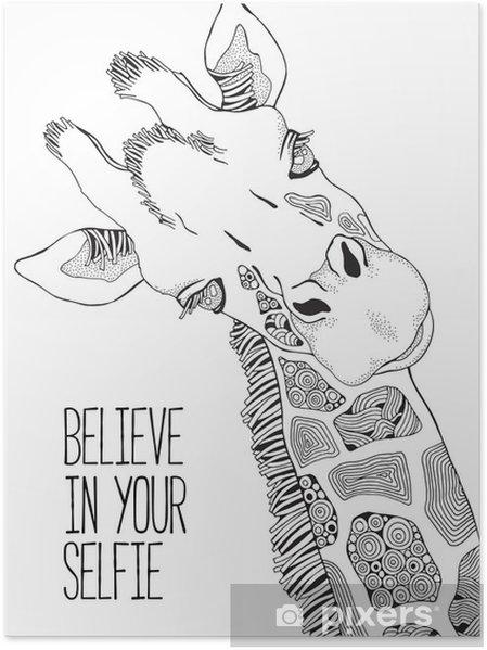 Yetişkinler Ve çocuklar Için Boyama Kitabı Sayfası Zürafa Poster