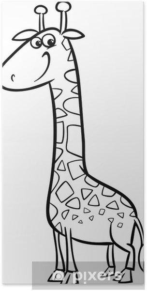 Zürafa Karikatür Boyama Poster Pixers Haydi Dünyanızı Değiştirelim