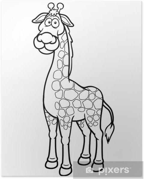 Zürafa Karikatür Vektör çizim Boyama Kitabı Poster Pixers