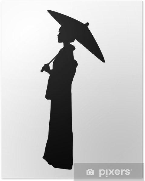Poster 蛇 の 目 傘 を さ す 着 物 女性 の シ ル エ ッ ト 素材 - Eau