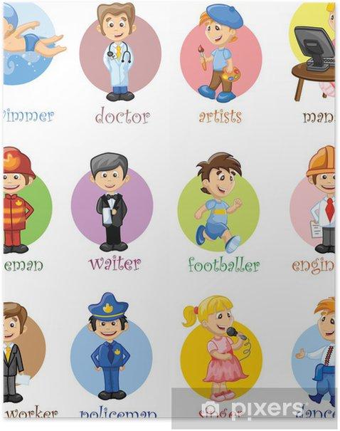 Векторные иллюстрации людей разных профессий Poster - People at Work