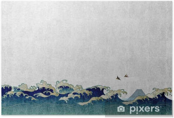 Poster 和風 背景 素材 大 波 と 渡 り 鳥 - Paysages