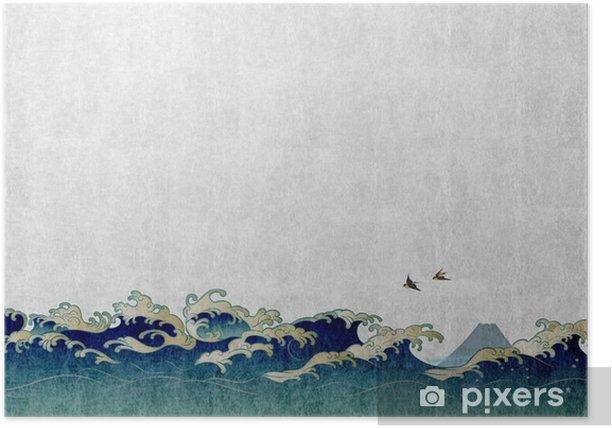 和風背景素材 大波と渡り鳥 Poster - Landscapes